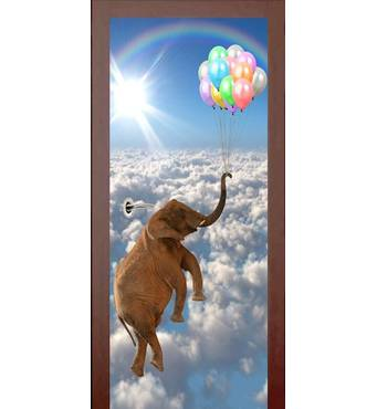 3D двери Слон с шариками 9430, 80х200 см