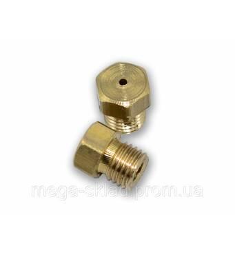 Жиклер для газовых плит 6 мм (природный газ, мелкая резьба) диаметр отверстия 1 мм