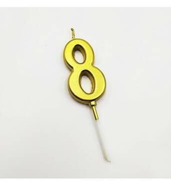 """Свічка цифра """"8"""" в торт з позолотою   (уцінка)"""
