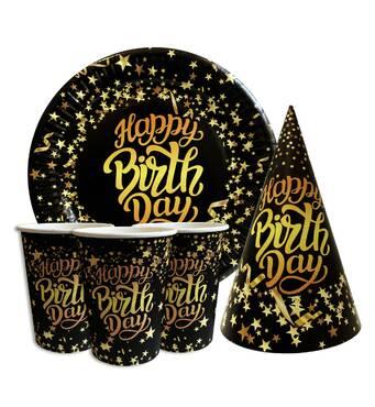 """Набір для дитячого дня народження """" Happy Birthday зірки """" Тарілки - 10 шт Скляночки - 10 шт Ковпачки - 10 шт"""
