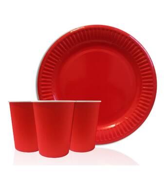 """Набір одноразового посуду """" Червоний """" Тарілки - 10 шт Скляночки - 10 шт"""
