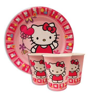 """Набір для дитячого дня народження """" Китті """" Тарілки - 10 шт Скляночки - 10 шт Ковпачки - 10 шт"""