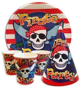 """Набір для дитячого дня народження """" Пірати """" Тарілки - 10 шт Скляночки - 10 шт Ковпачки - 10 шт"""