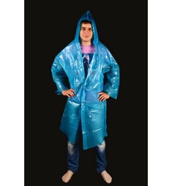 Плащ-дощовик з поліетилену на кнопках синій