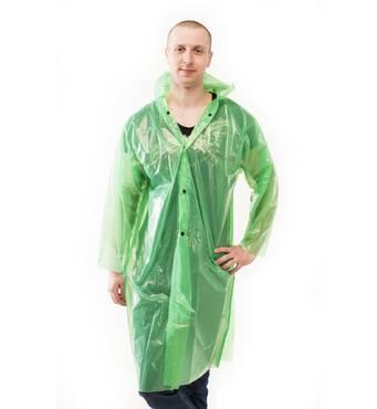 Плащ-дощовик з поліетилену на кнопках зелений