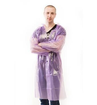 Плащ-дощовик з поліетилену на кнопках фіолетовий