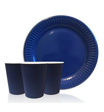 """Набір одноразового посуду """" Синій """" Тарілки - 10 шт Скляночки - 10 шт"""