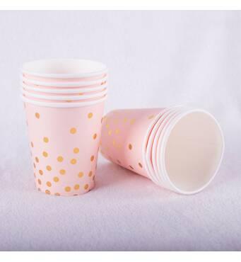 """Скляночки паперові одноразові """"Рожеві із золотим горохом"""",10 шт"""