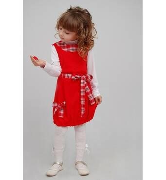 """М -787 Сарафан детский для девочки вельветовый красный. Размер 122 тм """"Попелюшка"""""""