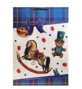"""Пакет для подарунка гігант вертикальний """"Дерев'яна конячка"""" 30х40 см   (6 шт/уп)"""