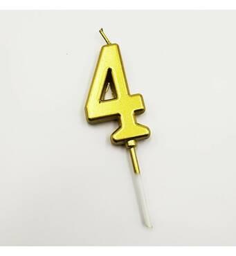 """Свічка цифра """"4"""" в торт з позолотою   (уцінка)"""