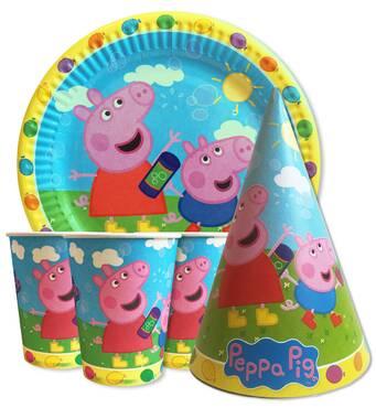 """Набір для дитячого дня народження """" Свинка Пеппа блакитної"""" Тарілки - 10 шт Скляночки - 10 шт Ковпачки - 10 шт"""