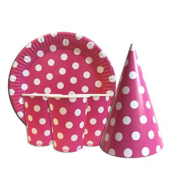 """Набір для дитячого дня народження """" Горох рожевий """" Тарілки - 10 шт Скляночки - 10 шт Ковпачки - 10 шт"""