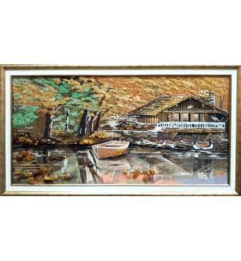 "Картина из янтаря ""Охотничий домик"" 40х80 см"