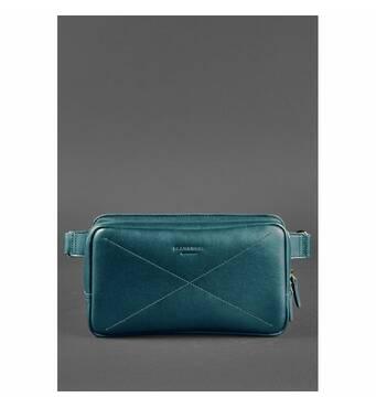Кожаная женская поясная сумка Dropbag Maxi зеленая Krast