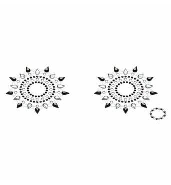 Пэстис из кристаллов Petits Joujoux Gloria set of 2 - Black/Silver, украшение на грудь