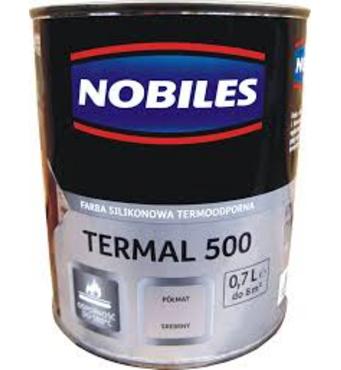 """Эмаль термостойкая """"Nobiles Termal +500°C"""" серебро 0,7л."""