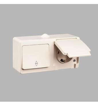 Nemli блок вимикач прохідної 1-й   розетка із заземленням вологозахищений кремовий