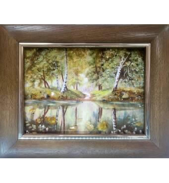 "Картина из янтаря ""Березы у воды"" 15х20 см"