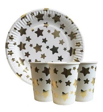 """Набір одноразового посуду """" Золоті зірочки """" Тарілки - 10 шт Скляночки - 10 шт"""