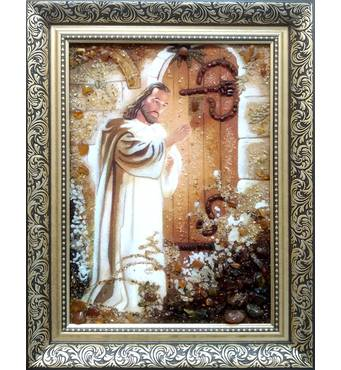 """Икона из янтаря """"Иисус стучит в дверь"""" 30 х 40 см без стекла"""