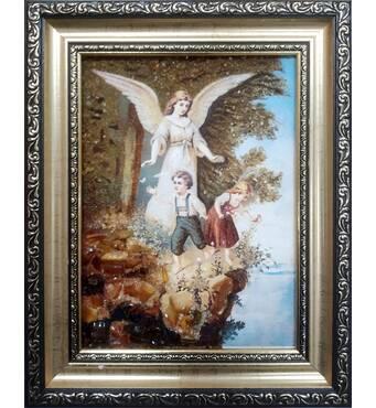"""Икона из янтаря в детскую комнату """"Ангел и дети"""" 15х20  см без стекла"""