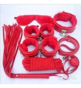 Эротический секс набор для тематических BDSM игр (красный)