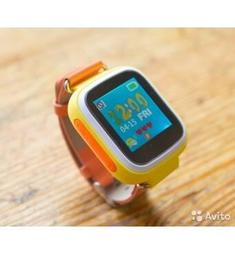 Детские умные часы телефон Smart Baby Watch Q80 c GPS и сенсорным цветным экраном (оранжевые)