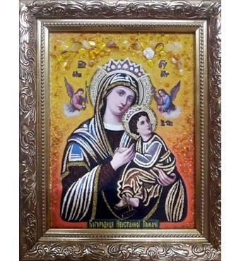 """Ікона з янтаря """"Богородиця неустанної помочі"""" 20х30 см без скла"""