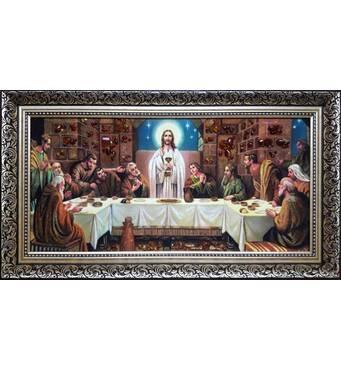 """Икона из янтаря """"Тайная вечеря (Леонардо да Винчи)"""" 30х50 см без стекла"""