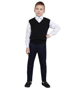 """Жилет для мальчика трикотажный  М-966  рост 110 116 122 128 134 140 146  и 152 черный тм """"Попелюшка"""" 146"""