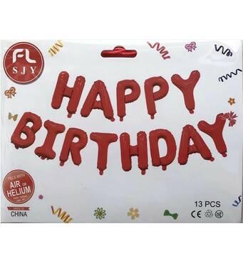 Фольгированные буквы красные HAPPY BIRTHDAY, 40 см