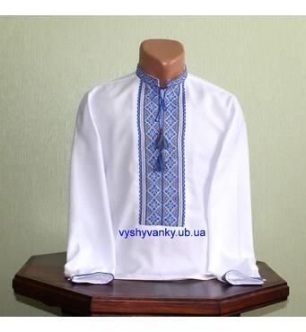 сорочка вишита ручної роботи для хлопця з блакитно-жовтим орнаментом