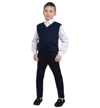 """Жилет для мальчика трикотажный  М-966  рост 116 122 128 134 140 146 152 синий тм """"Попелюшка"""" 128"""