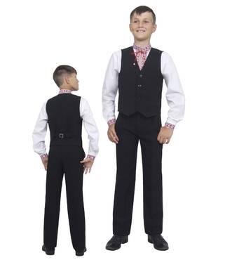 Жилет для мальчика школьный  М-864  рост 116-158 черный, синий, зеленый,бордовый 122