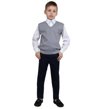 """Жилет для мальчика трикотажный  М-966  рост 110 116 122 128 134 140 146  и 152 серый тм """"Попелюшка"""" 146"""