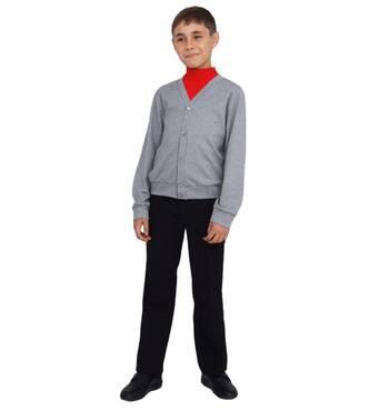 """Жакет для мальчика трикотажный М-971 рост 116 122 128 134 140 146 и 152 Серый тм """"Попелюшка"""" 122"""