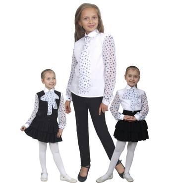 """Блузка детская для девочек сорочечная с шифоном М-1070-1 рост 122-170 тм """"Попелюшка"""" 158164"""