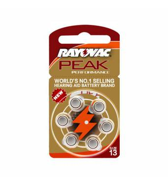Батарейки Rayovac Peak для слуховых аппаратов тип 13 (6 шт.)