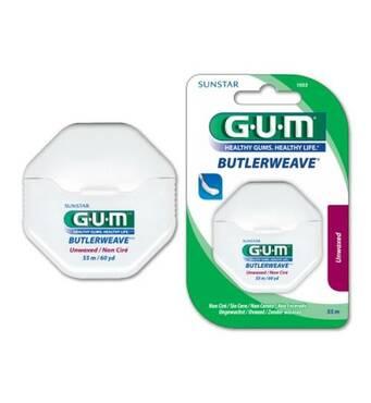 Зубна нитка GUM ButlerWeave UNWAXED плетуча нитка, 55 м