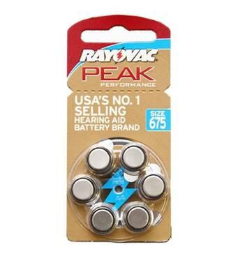 Батарейки Rayovac Peak для слуховых аппаратов тип 675 (6 шт.)