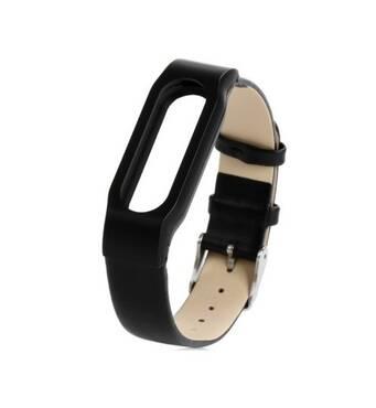 Ремешок для фитнес-браслета Mi Band кожа Black Xiaomi
