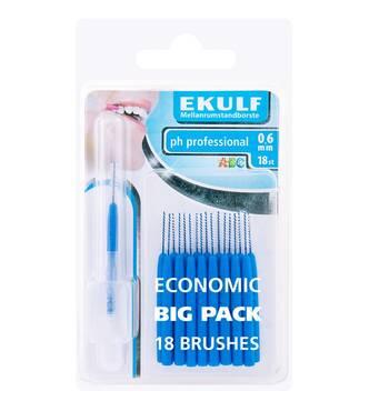 Щетки для межзубных промежутков Ekulf ph professional 0.6 мм (18 шт.) синие