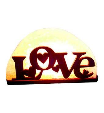 Соляний світильник з дерев'яними елементами Любов 1,5кг Saltlamp
