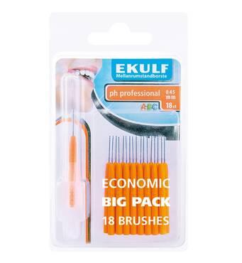 Щітки для міжзубних проміжків Ekulf ph professional 0.45 мм (18 шт.) помаранчеві