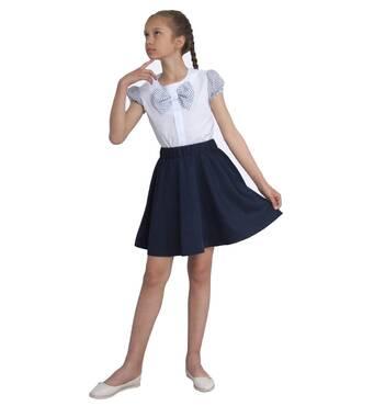 """Блузка для девочек белая с коротким рукавом  м 1137 рост 122 128 134 140 146 152 и 158 тм """"Попелюшка 158"""