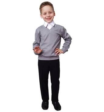 """Свитер для мальчика трикотажный М-1038 рост 110 116 122 128 134 140 146  и 152 серый тм """"Попелюшка"""" 152"""