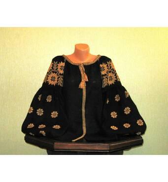 вышиванка женская бохо на черном льне