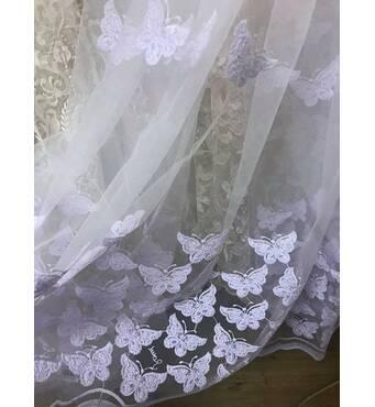 Тюль с набитой вышивкой бабочки белого цвета В спальную, детскую