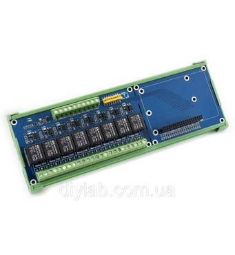 Реле плата расширения для Raspberry Pi (8 реле по 5А) с креплением на DIN рельс